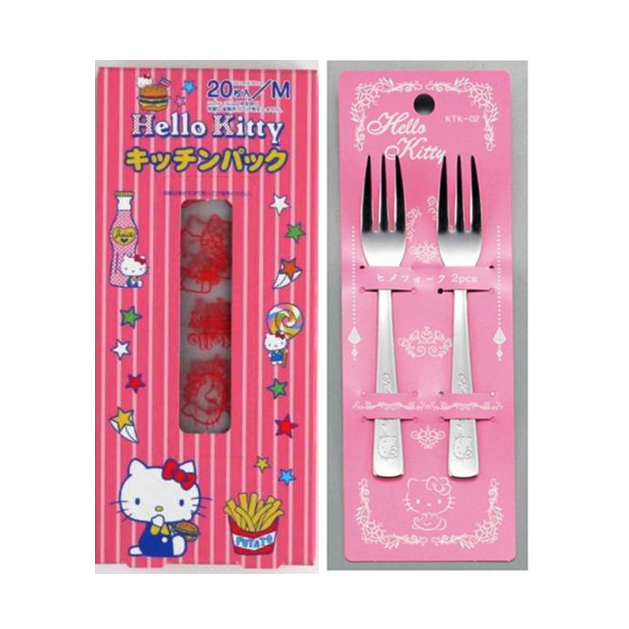 Combo Set 20 túi ny lông đựng thực phẩm hình Hello Kitty + Set 2 dĩa inox hình Hello Kitty - Nội địa Nhật Bản