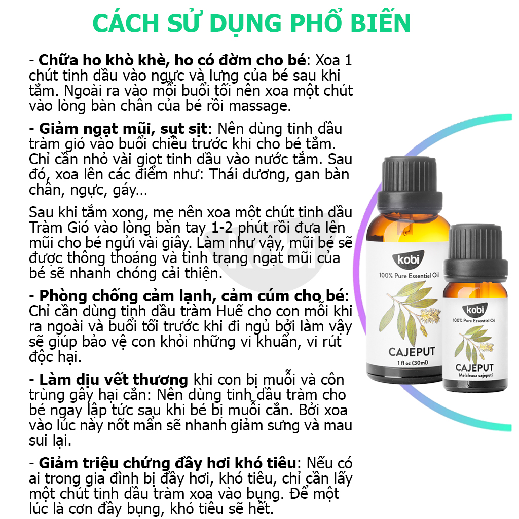 Combo Tinh Dầu Sả Chanh Kobi (50ml) + Tinh Dầu Tràm Gió Kobi (50ml) Nguyên Chất