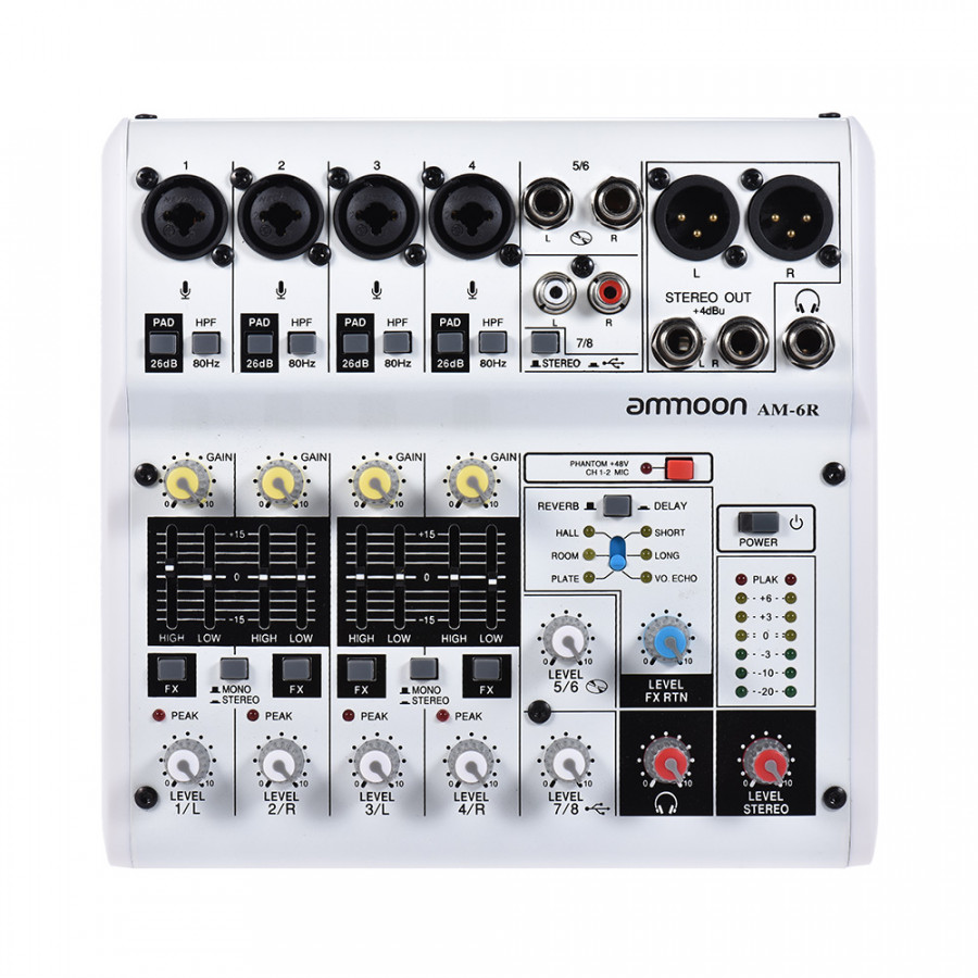 ammoon AM-6R 8-Channel Digital Audio Mixer Mixing Console Built-in 48V Phantom Power Support Powered by 5V Power Bank - White