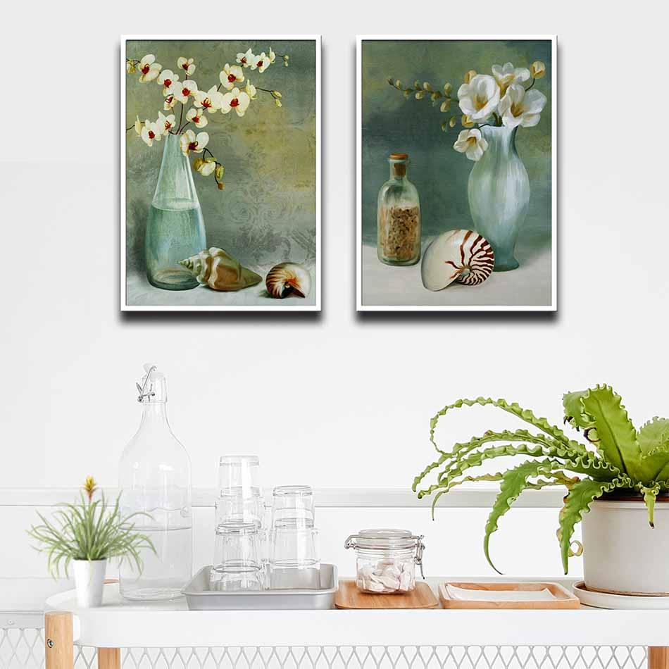 Bộ 2 tranh canvas treo tường Decor Họa tiết bình hoa sơn dầu - DC187