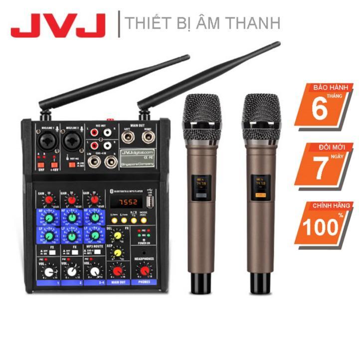 Bộ Sound Card Micro Bluetooth Karaoke hỗ trợ livestream JVJ BT36 – Mixer kèm mic không dây Auto Tune chuyên nghiệp - Hàng chính hãng