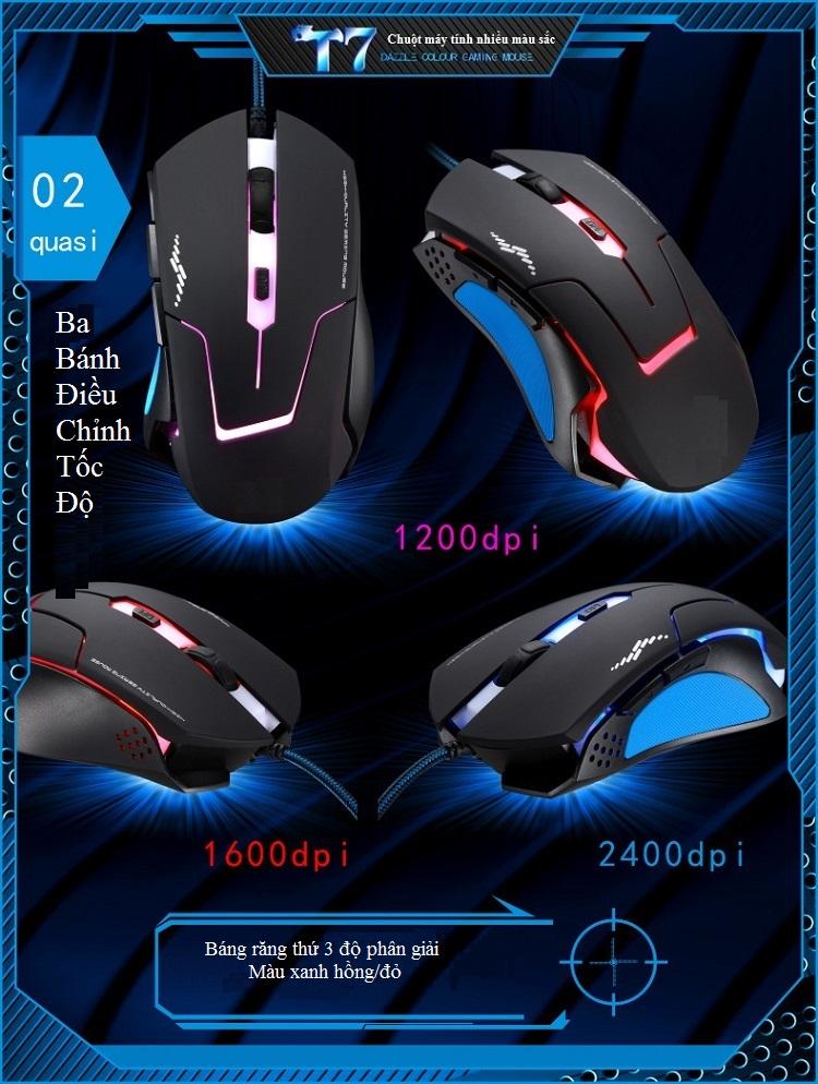 Chuột Máy Tính Có Dây T7 Chuột Gaming (Có Hiệu Ứng Đèn Nền Màu)