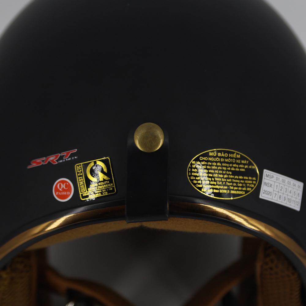 Mũ bảo hiểm 3/4 SRT Lót màu cao cấp - Đen lót nâu- có thông gió - viền đồng cao cấp