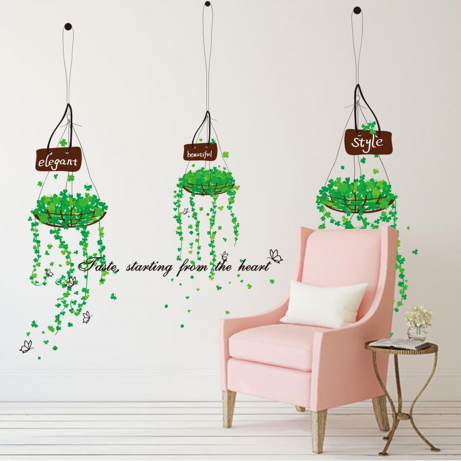 Decal dán tường giỏ hoa xanh ZOOYOO DLX5176