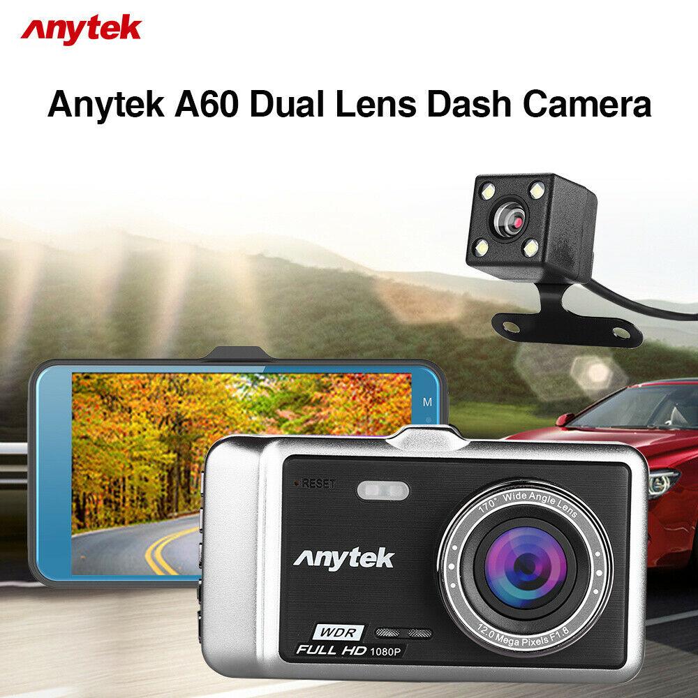 Camera hành trình Anytek A60 (FHD 1080P Cam trước+HD 720p Cam sau, hỗ trợ Camera lùi) - Hàng nhập khẩu