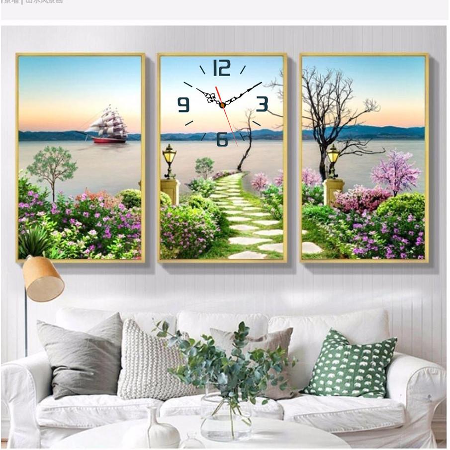 Tranh treo tường, tranh đồng hồ NT151 bộ 3 tấm ghép