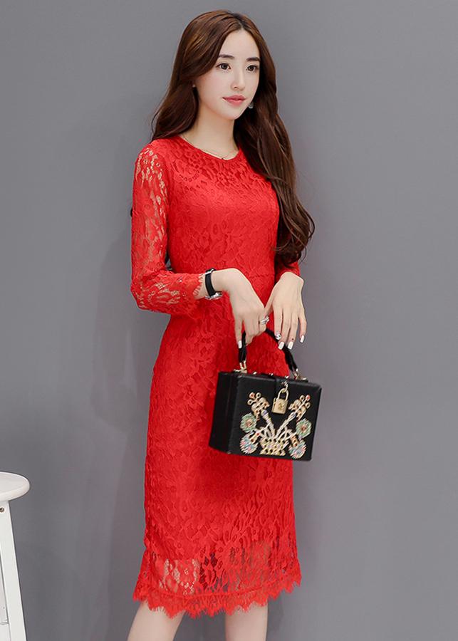 Đầm Suông Tay Dài D1125 - Đỏ Size M