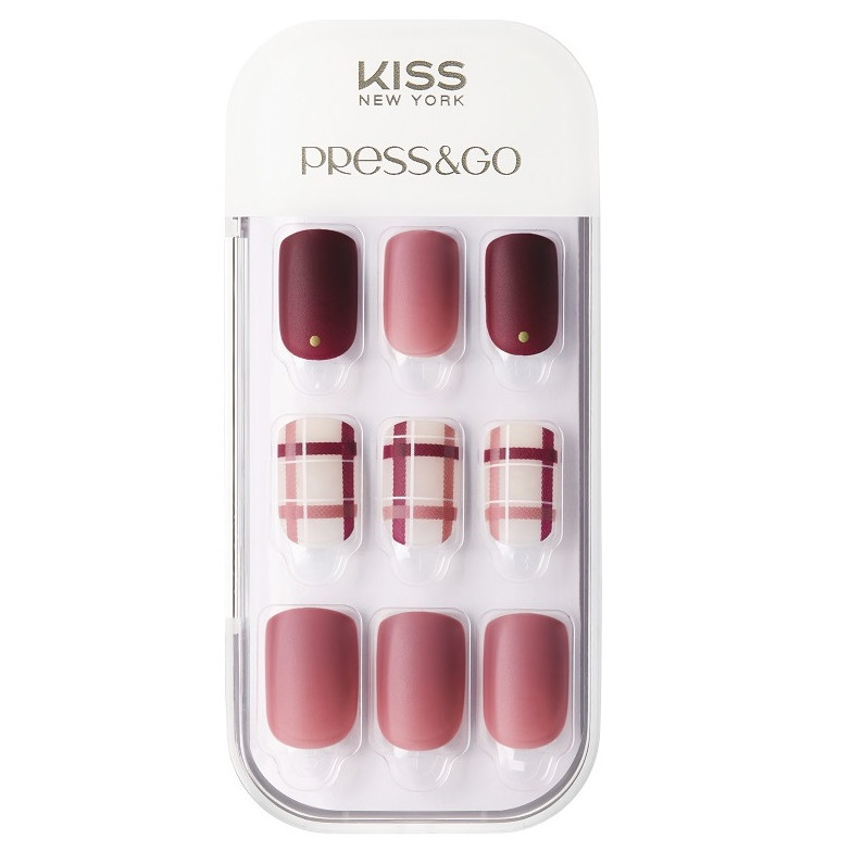 Bộ 30 Móng Tay Gel Dán Press & Go Kiss New York Nail Box - Mix Berry Check (KPNA20KA)
