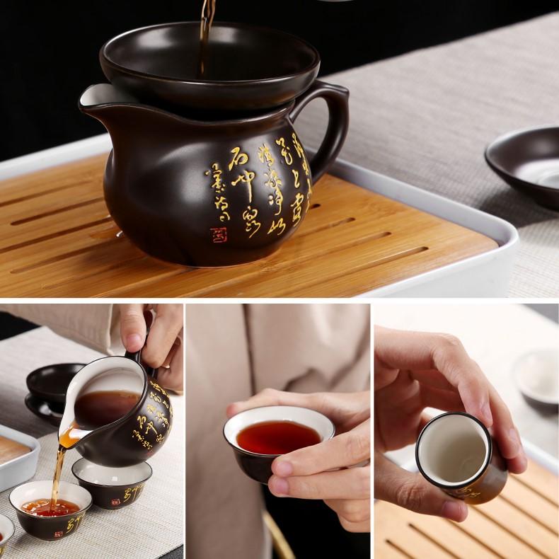 Bàn trà điện thông minh Phật Di Lặc  – Ấm chén nâu trắng