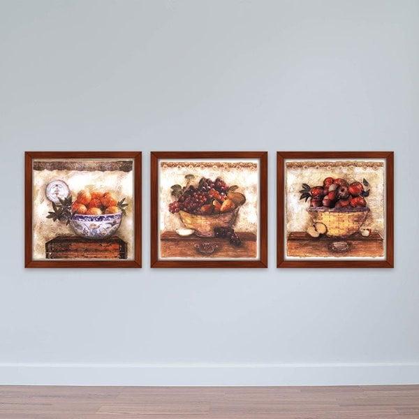 """Bộ 3 tranh treo khách sạn """"Bữa tiệc hoa quả""""   Tranh khách sạn W2277 Canvas có viền"""
