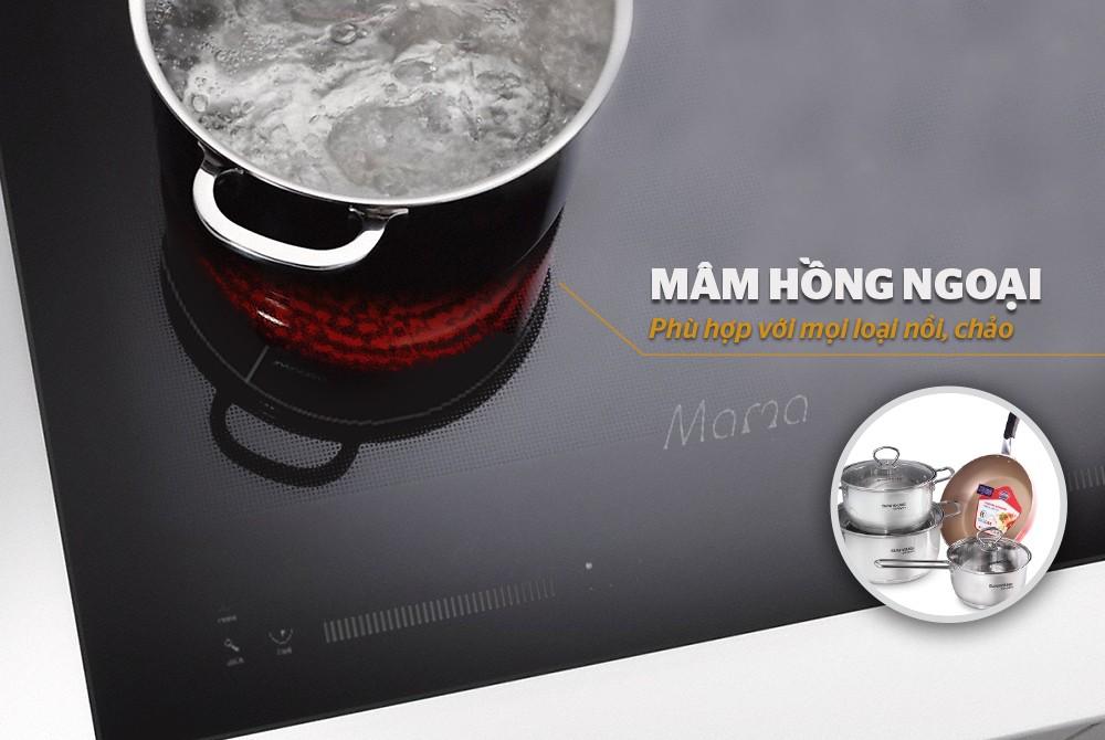 Bếp đôi điện từ hồng ngoại Sunhouse Mama MMB9200MIX - Hàng Chính Hãng