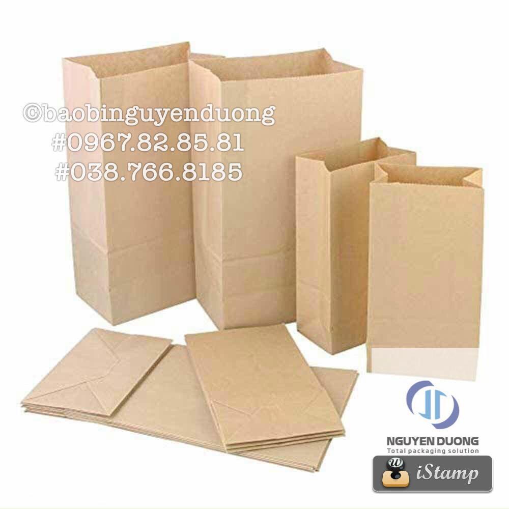 Sét 100 túi giấy kraft hình hộp size 0,5-2kg