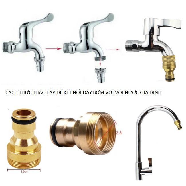 Bộ dây vòi xịt nước rửa xe, tưới cây đa năng, tăng áp 3 lần, loại 15m 206236 đầu đồng,cút,nối vàng+ tặng đai