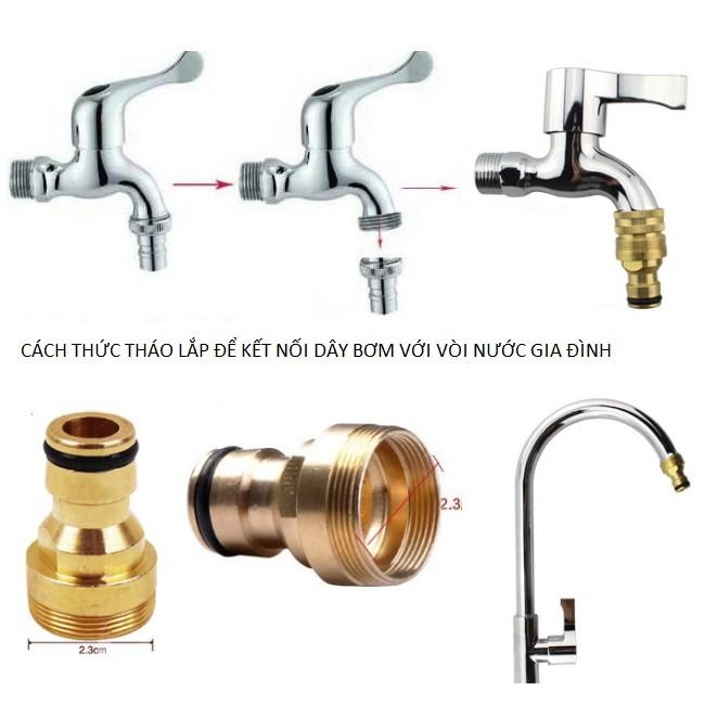 Bộ dây vòi xịt nước rửa xe, tưới cây . tăng áp 3 lần, loại 15m 206701-3 đầu đồng, cút,+ tặng mở chai