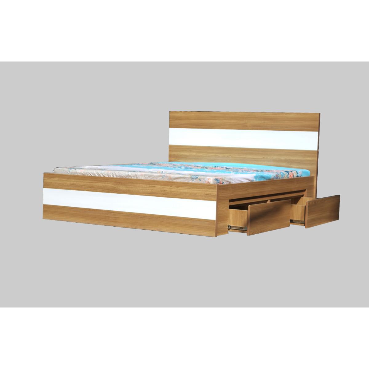 Giường Ngủ HH126 - 2 Hộc Tủ MDF Phủ Melamine Vân Gỗ chống trầy xước