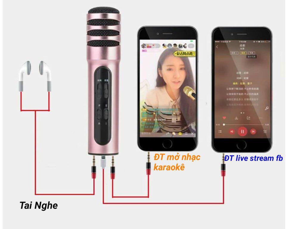 Micro thu âm karaoke live stream C7 loại cao cấp kèm tai phone