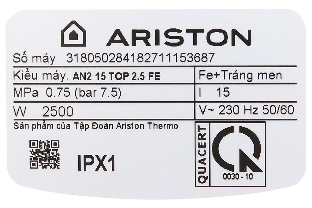 Máy nước nóng Ariston 15 lít AN2 15 TOP 2.5 FE 2500W- Hàng chính hãng (chỉ giao HCM)