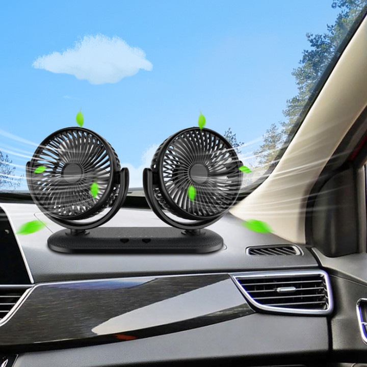 Quạt máy đôi mini xoay 360 độ DC201 sử dụng trên ô tô và bàn làm việc, công suất 12W trọng lượng nhẹ và ít tiếng ồn