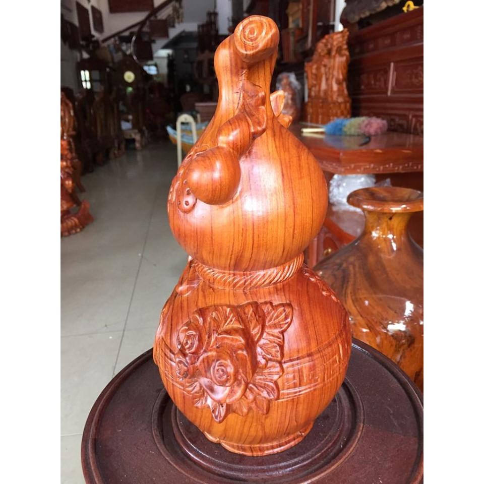 Bình hồ lô, gỗ hương việt nam nguyên khối, kích thước cao 30cm x đường kính 18cm