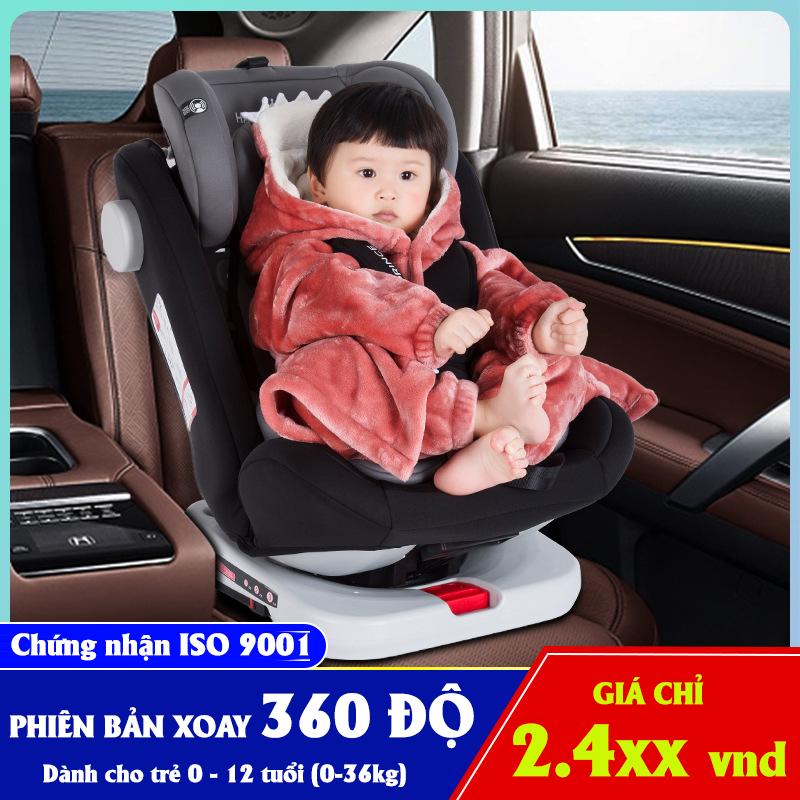 Ghế ô tô 2 chiều CHUẨN ISO 9001, điều chỉnh 4 tư thế từ nằm tới ngồi, xoay 360 độ, ngã 165 độ và có thể điều chỉnh độ cao 7 cấp cho bé từ 0-12 tuổi