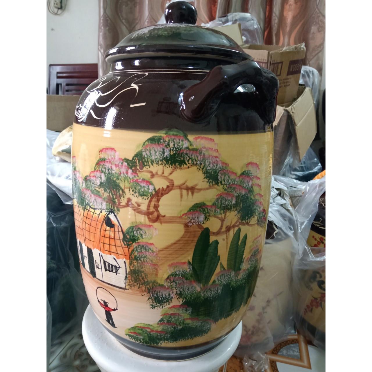 Hũ đựng rượu gạo Bát Tràng vẽ phong cảnh loại 15L