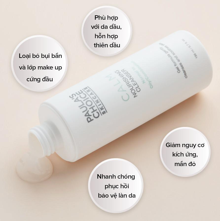 Sữa rửa mặt phục hồi cho da thường tới da dầu Paula's Choice Calm Nourishing Cleanser Normal to Oily/Combination 198ml (Nhập khẩu)