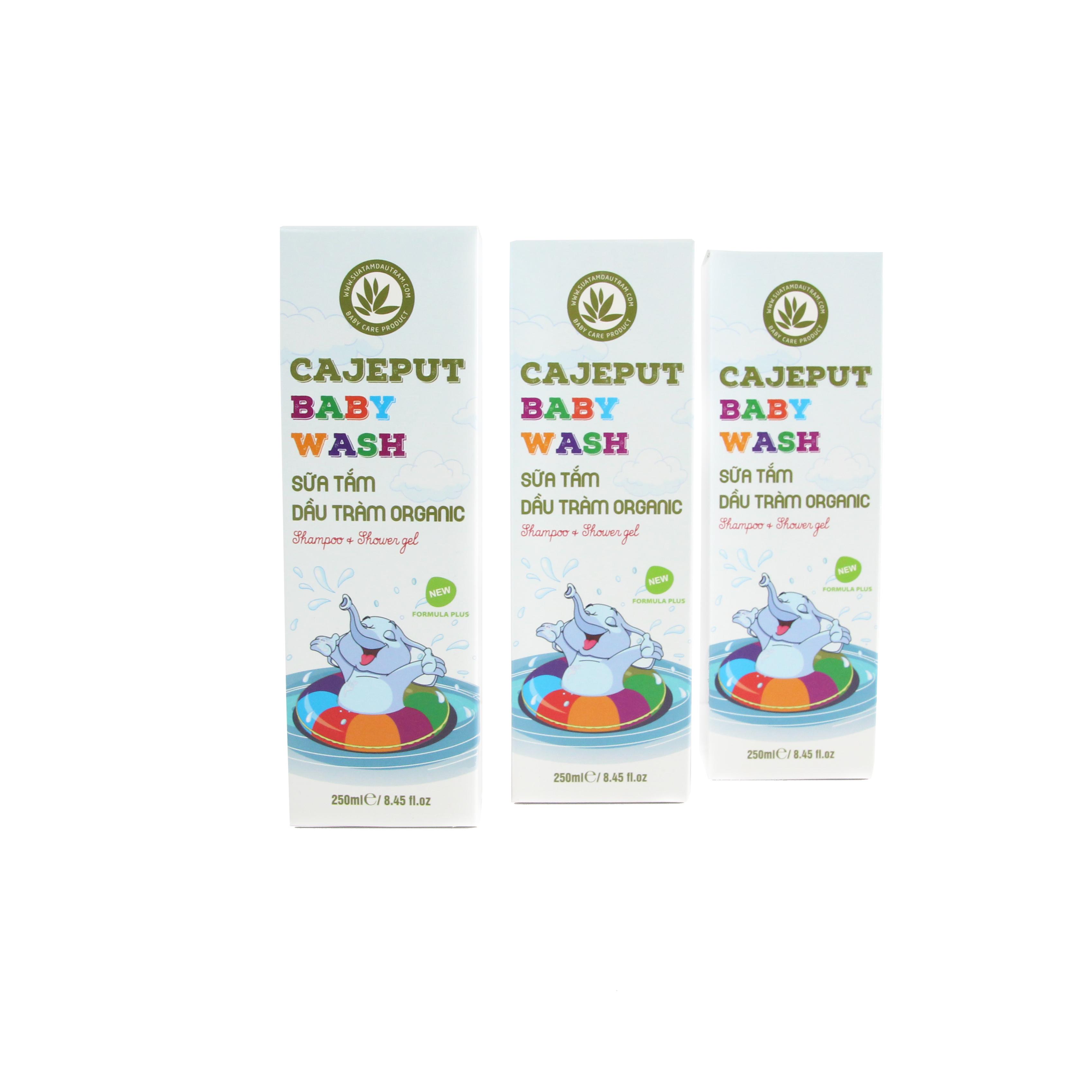 Sữa Tắm Gội Dầu Tràm toàn thân cho BÉ hữu cơ Cajeput Baby Wash (250ml)   Phù hợp cho tất cả loại da   100% Organic