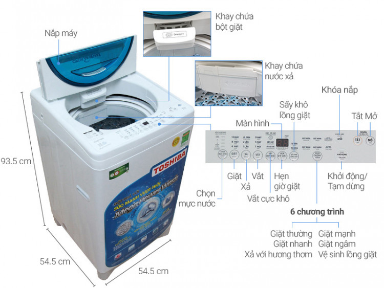 Thông số kỹ thuật Máy giặt Toshiba 8.2 kg AW-F920LV WB