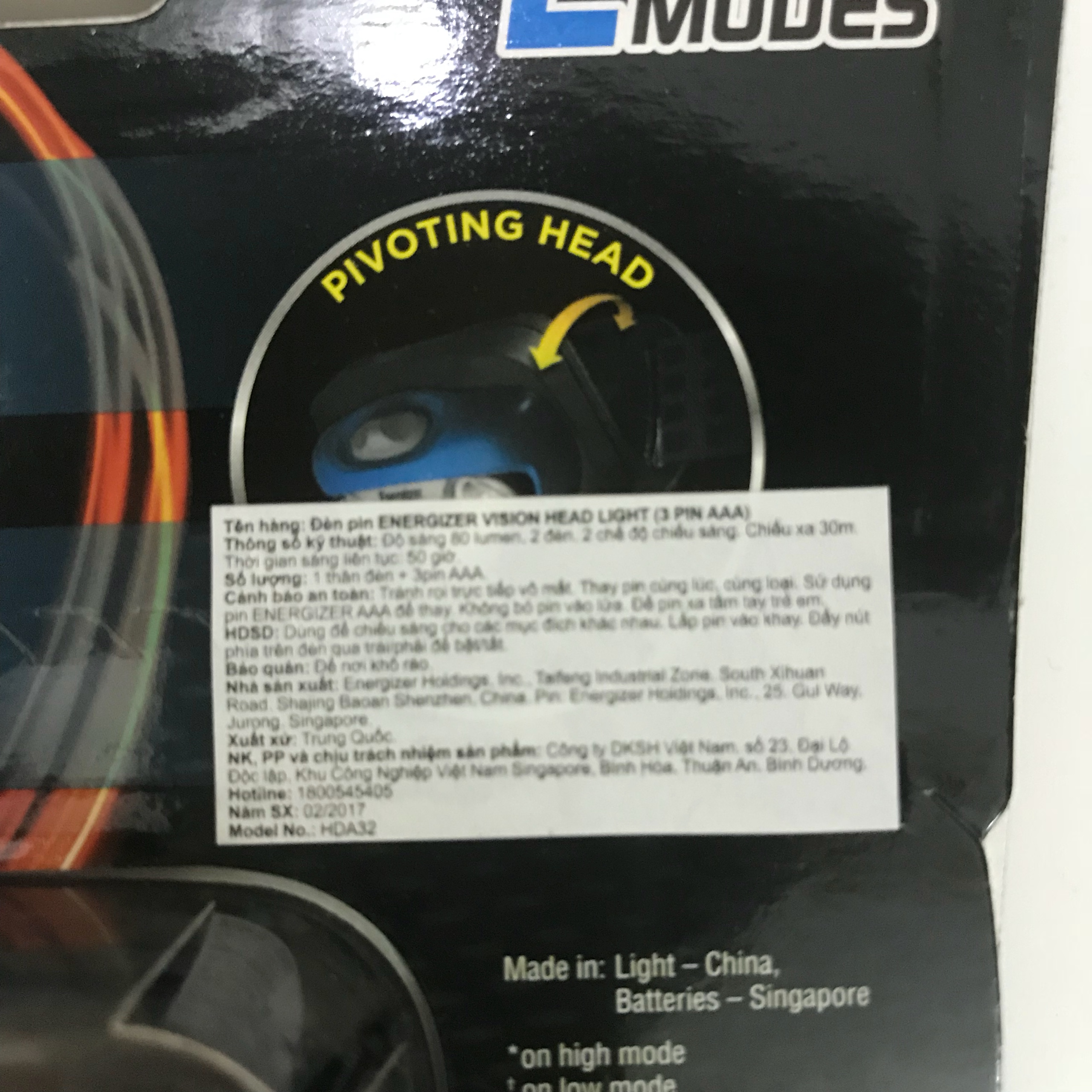 Đèn đội đầu Energizer Vision Head Light (3Pin AAA)