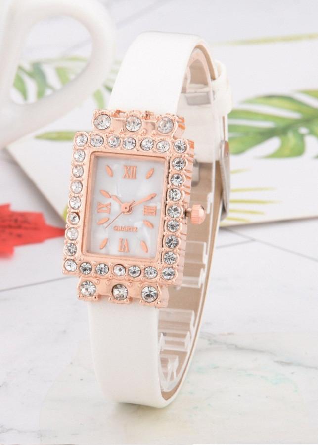 Đồng hồ nữ dây da mặt chữ nhật đính đá thời trang CNT05 - dây trắng