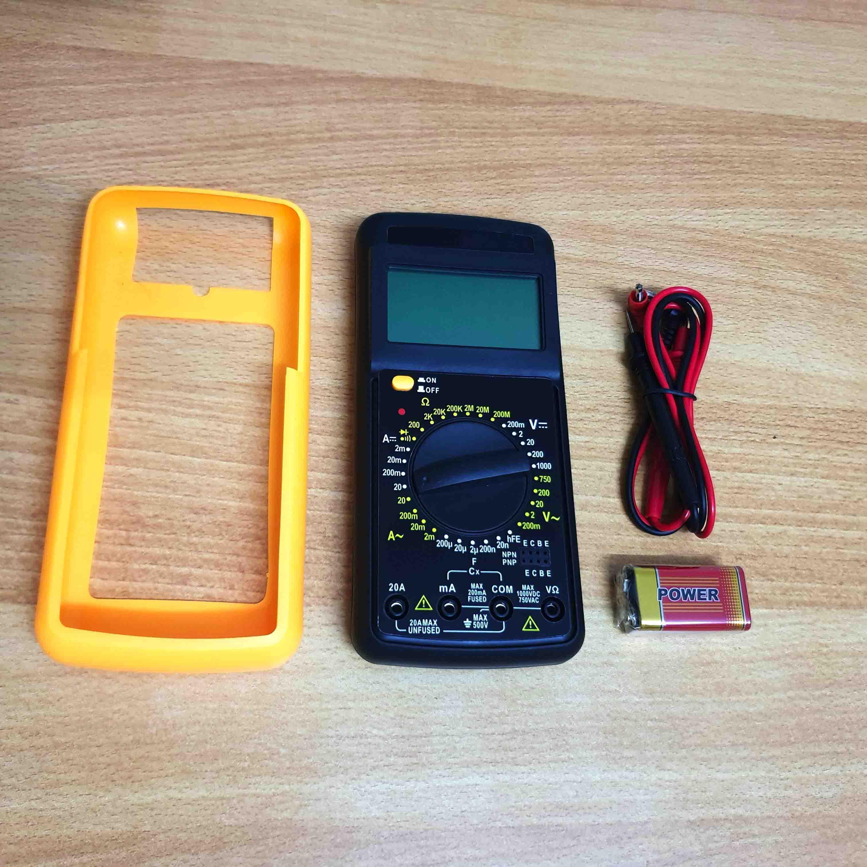 đồng hồ đo điện đa năng kèm pin 9v và ốp chống sốc