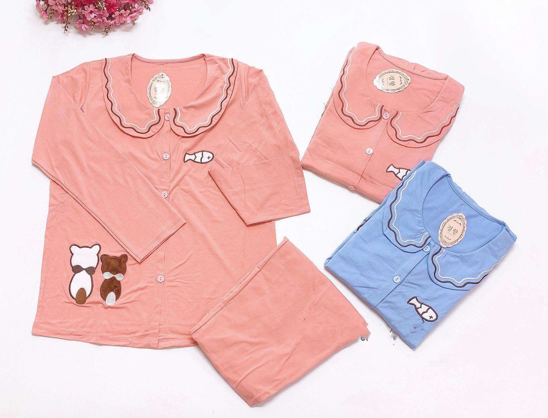 Quần áo bầu và sau sinh cotton, Bộ mặc nhà bầu sau sinh dài tay