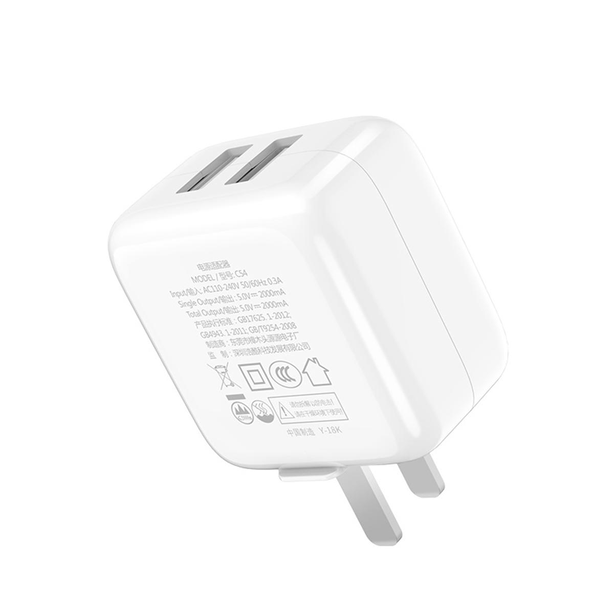 Củ sạc Nhanh Fast Charging -2 Cổng USB 2A Hoco C54  + Tặng Iring Khay - Chính Hãng