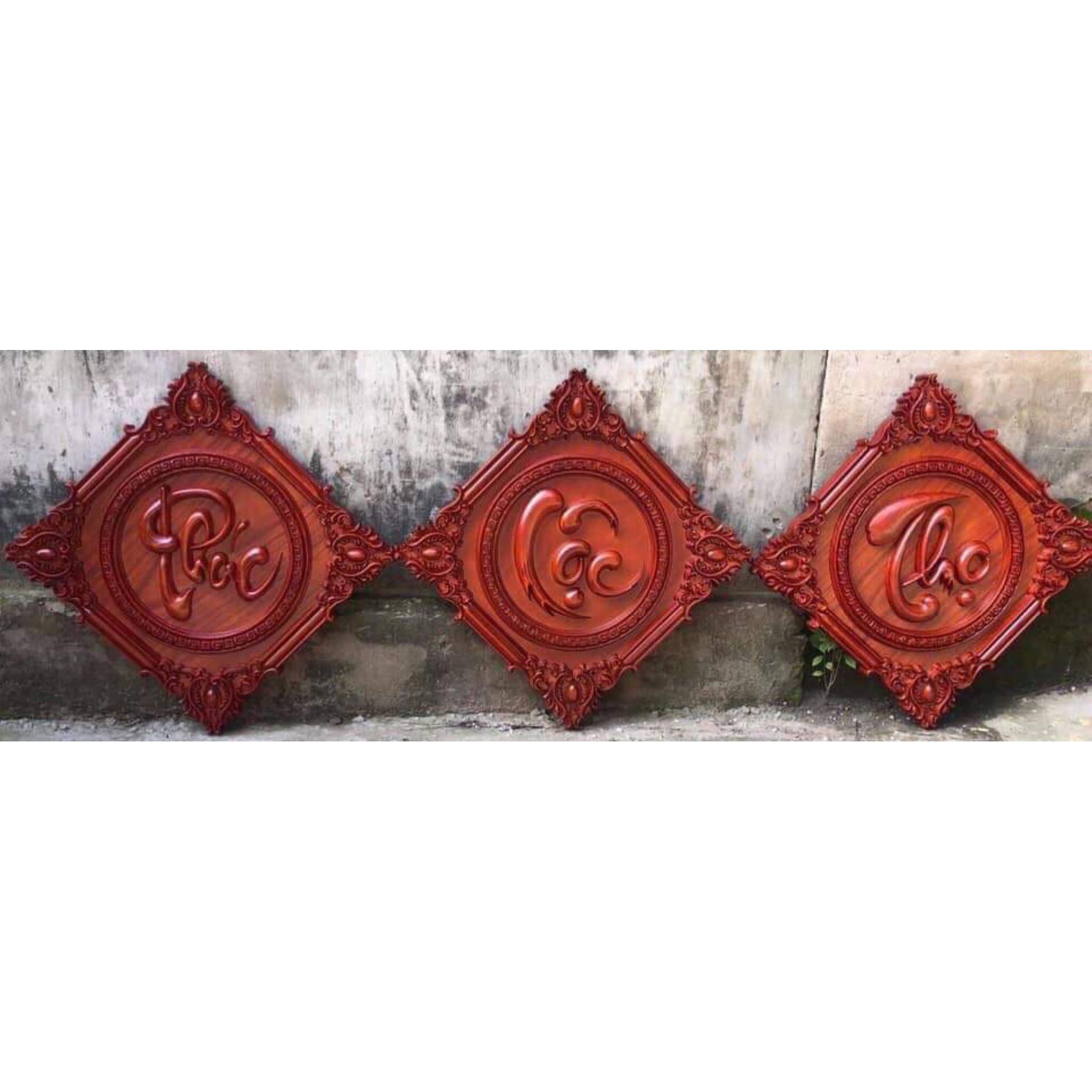 Tranh gỗ hương liền khối đục nổi- PHÚC LỘC THỌ-TG269
