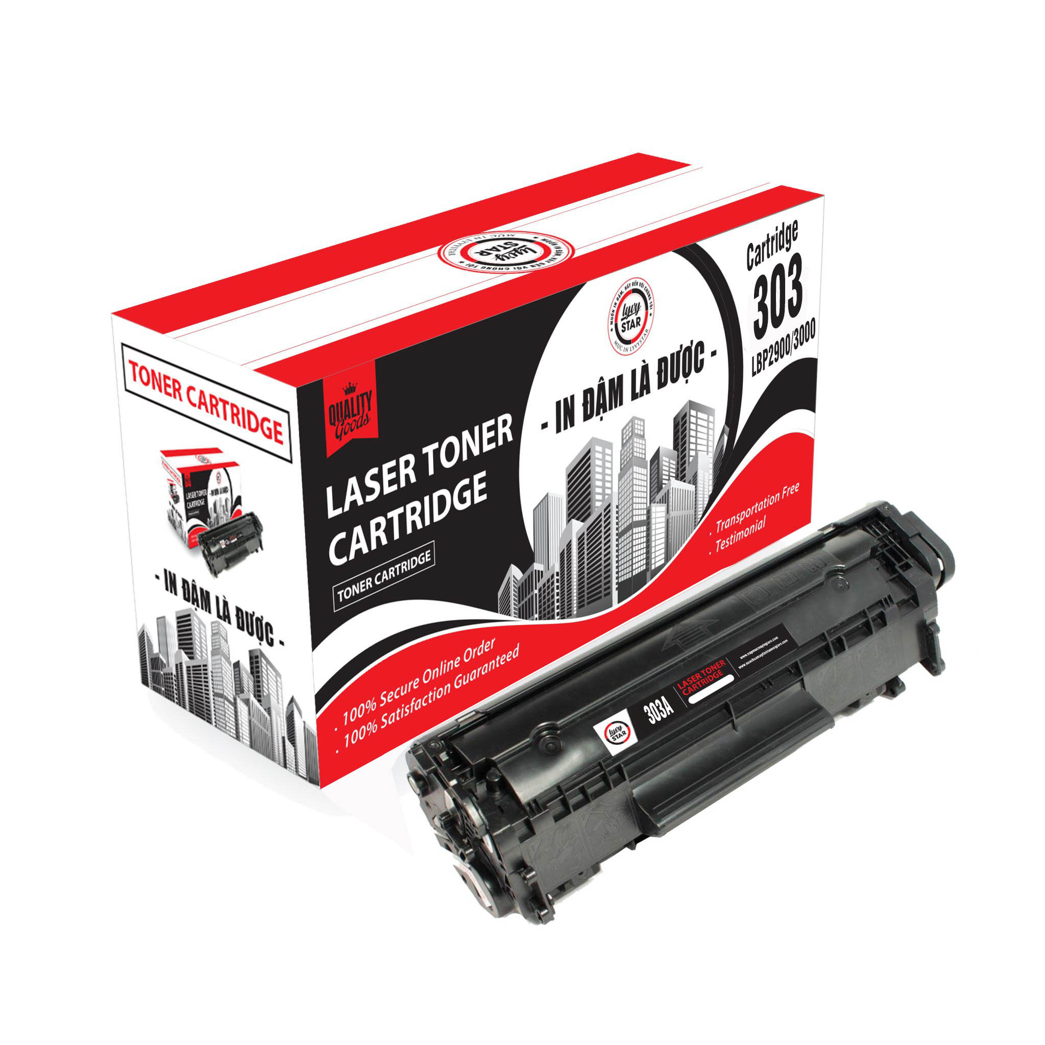 Hộp mực Lyvystar cartridge 303/103/703 sử dung cho máy in Canon 2900/3000 Hàng chính hãng