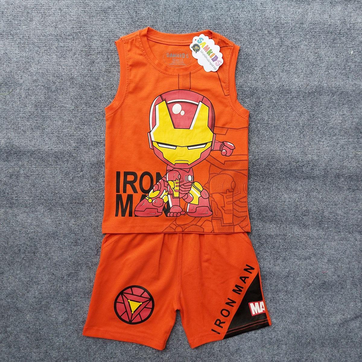 Bộ quần áo siêu nhân người sắt sát nách cho bé trai SN08