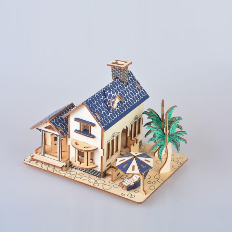 Đồ chơi lắp ráp gỗ 3D Mô hình Nhà Beach House Laser