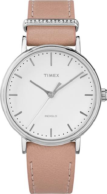 Đồng hồ nữ Timex Fairfield Women's Crystal Pink  Leather Strap Watches  - TW2R70400BT