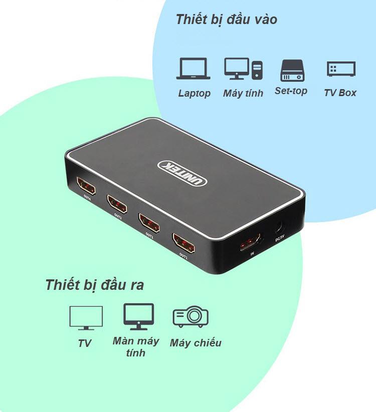 Unitek V109A - Bộ Chia HDMI 1 ra 4 Độ Phân Giải 4K HD Hỗ Trợ 3D Khoảng Cách Truyền Lên Tới 30m Kèm Nguồn AnZ - Hàng Chính Hãng