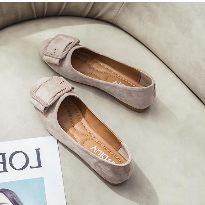 Giày Búp Bê Nữ Mũi Vuông Da Lộn Mẫu Mới Hót Phong Cách Trẻ Hàn Quốc  - MPS119