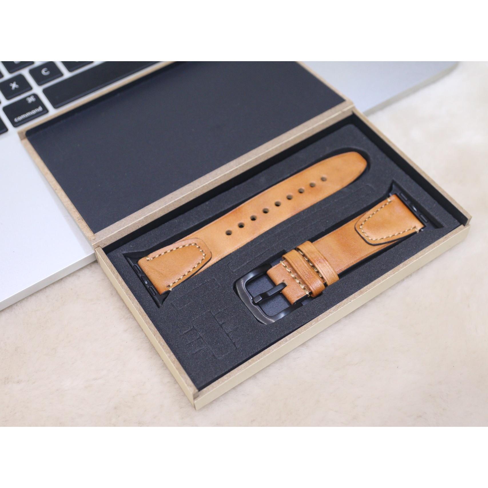 Dây đeo thay thế dành cho Apple Watch 1,2,3,4,5 da bò Ý