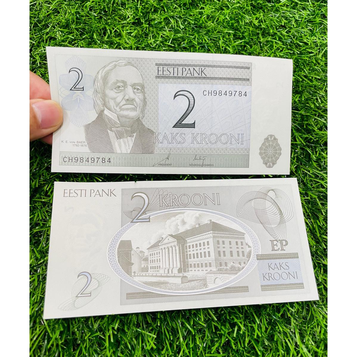 Tiền Estonia 2 Krooni, đất nước châu Âu, mới 100% UNC, tặng túi nilon bảo quản The Merrick Mint