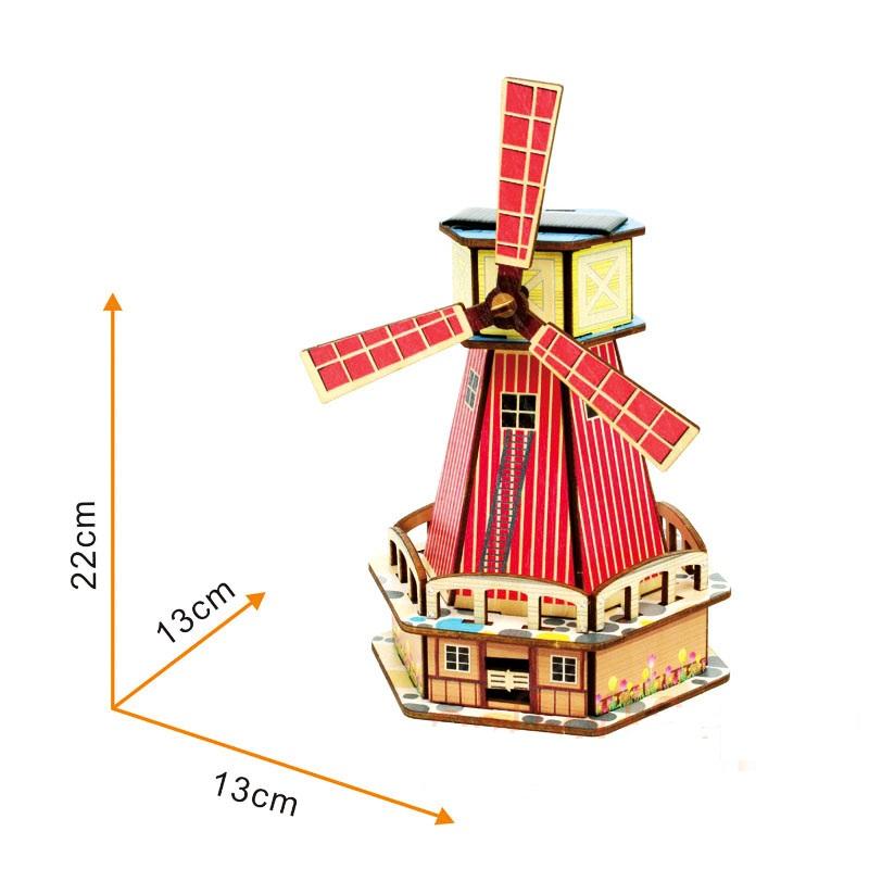 Đồ chơi lắp ráp gỗ 3D Mô hình Cối xay gió Năng lượng Mặt trời