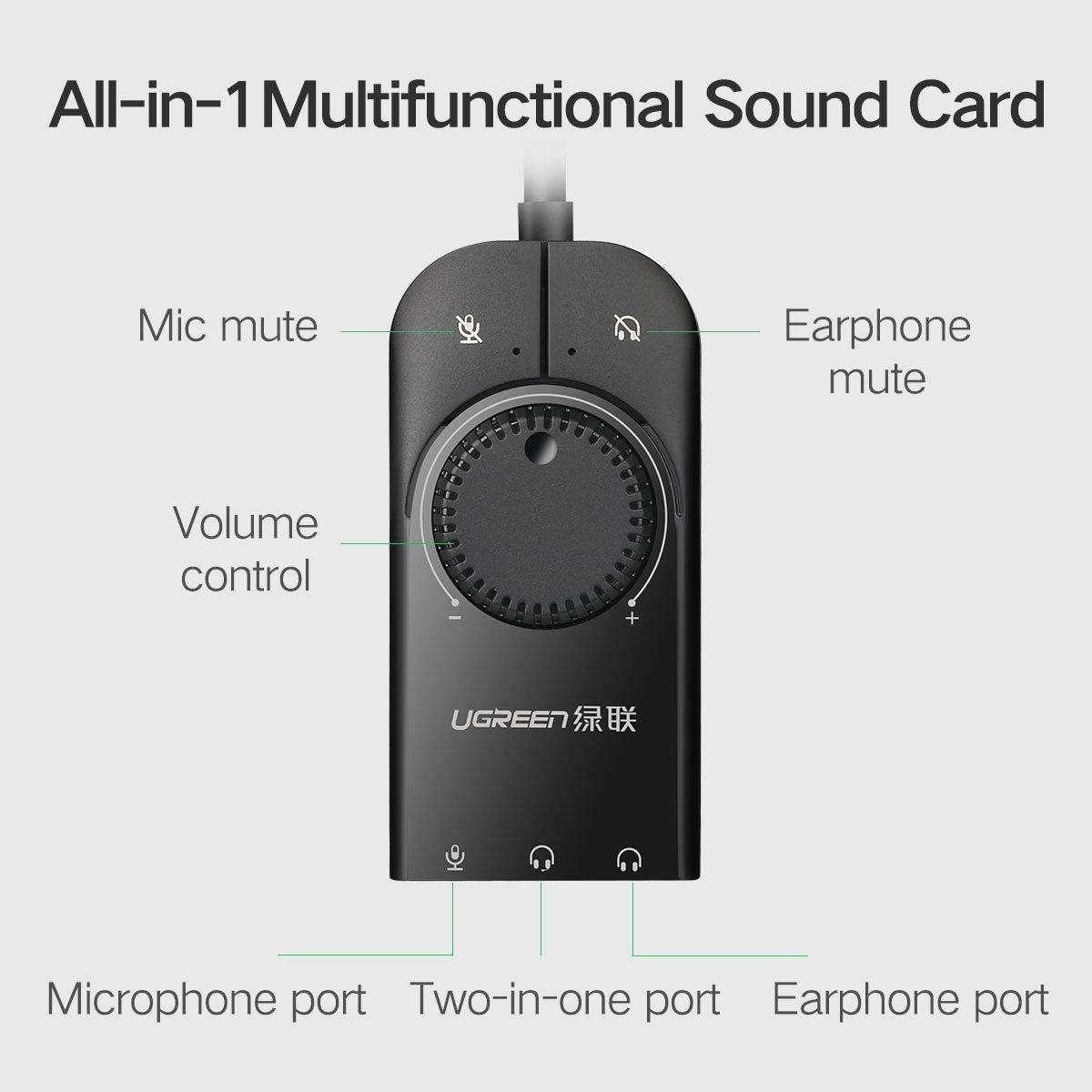 Cáp chuyển USB sang 3.5mm Loa và Mic Có Volume control UGREEN (USB Sound có chức năng điều chỉnh âm thanh) - Hàng Chính Hãng