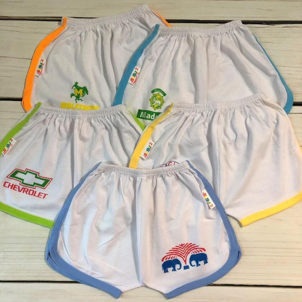 Set 10 quần đùi thể thao trắng viền màu