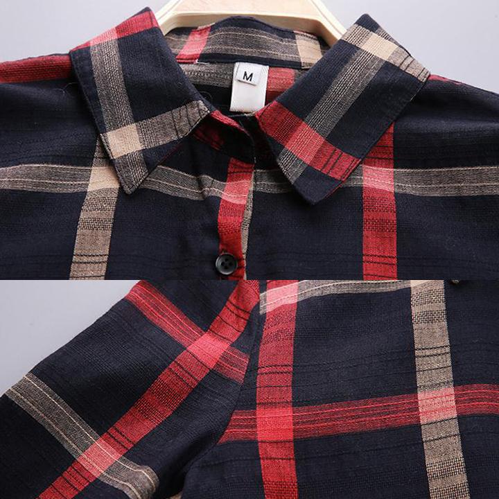 Áo Sơ Mi Kẻ Caro Nữ Phong Cách Hàn Quốc 100% Cotton
