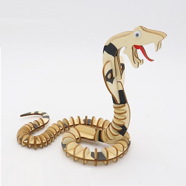 Đồ chơi lắp ráp gỗ 3D Bộ 9 Mô hình Con vật Laser