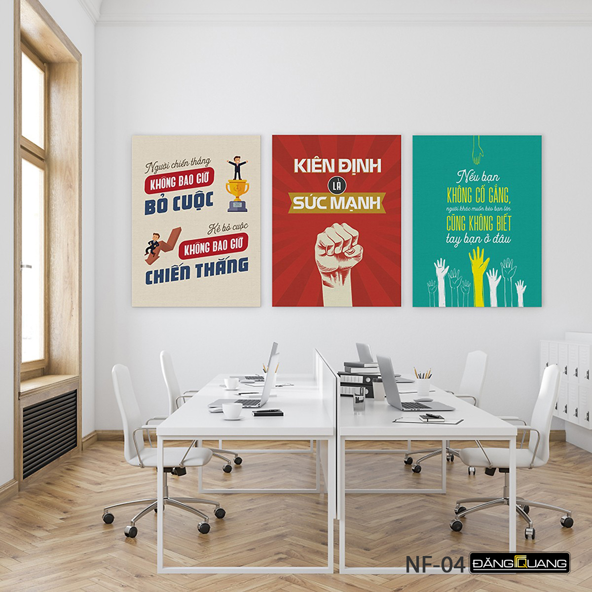 Tranh canvas 3 bức kích thước 45x60cm, treo tường, trang trí văn phòng, tranh tạo động lực cho nhân viên. Mã NF02-NF11.Tặng kèm đinh 3 chân thông minh