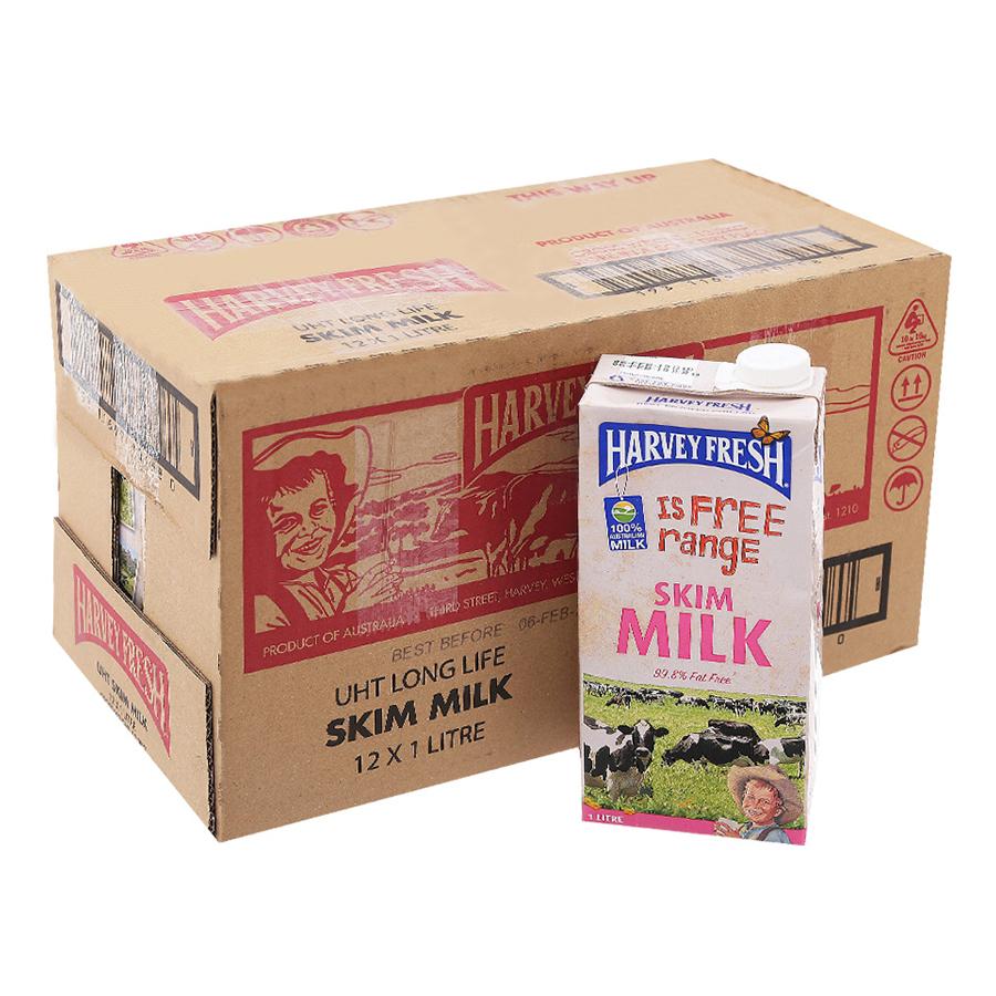 Thùng 12 Hộp Sữa Tươi Tiệt Trùng Không Beo Harvey Fresh 1L  Hộp