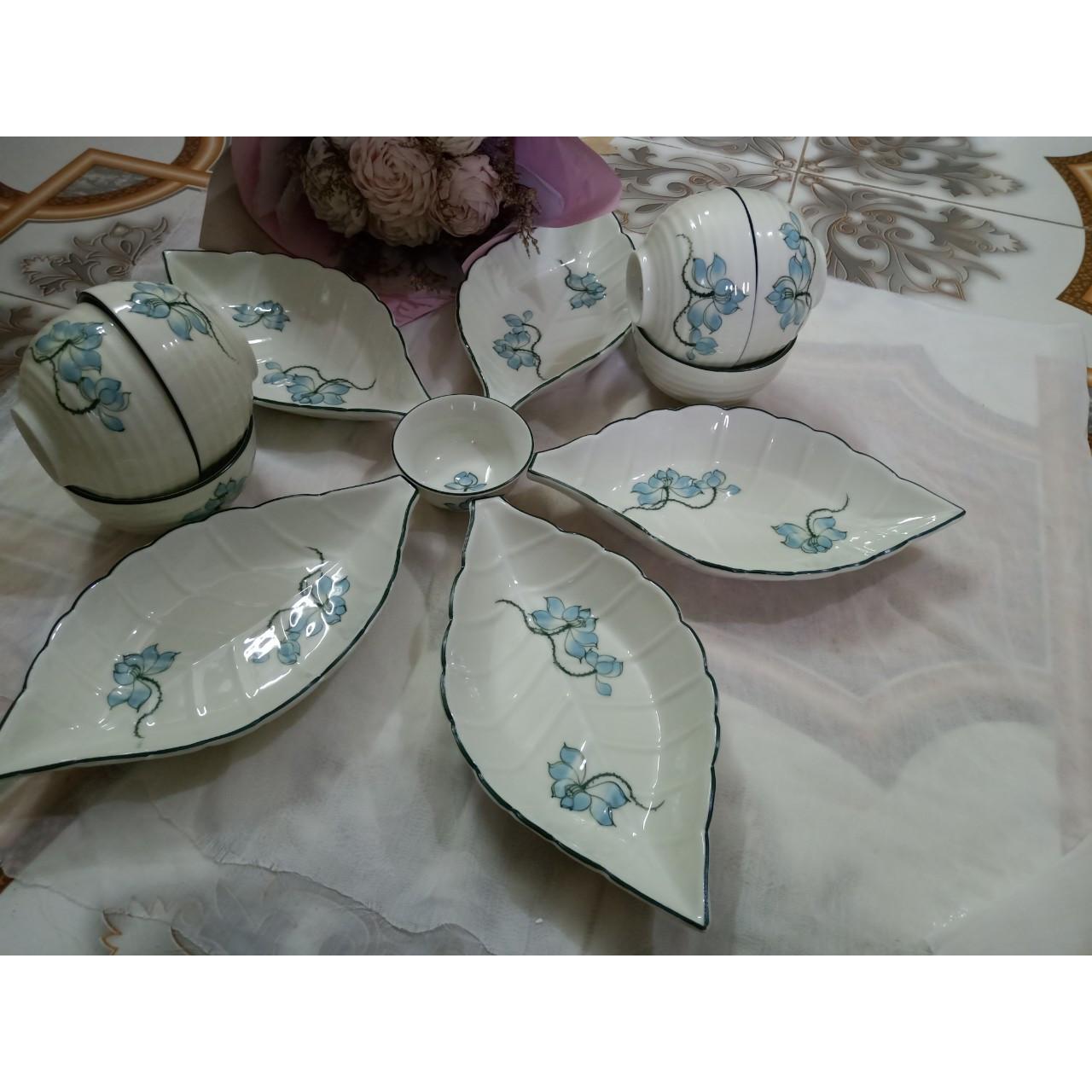 Bộ sản phẩm đĩa + bát vẽ hoa sen gốm sứ Bát Tràng
